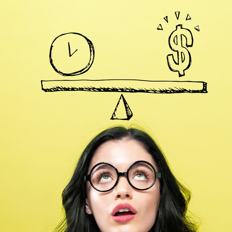 Time and money on the scale with young woman